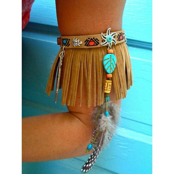 ARM BAND NATIVE leather Fringe Arm Cuff Cowboy Boot Band Fringe Choker... ($399) ❤ liked on Polyvore featuring jewelry, bead, beaded jewelry, leather jewelry, gypsy jewelry, tribal jewelry and feather jewelry