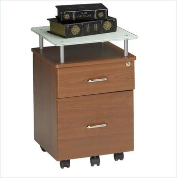 Mayline Glass-top Mobile Pedestal File-Anthracite transitional filing cabinets and carts