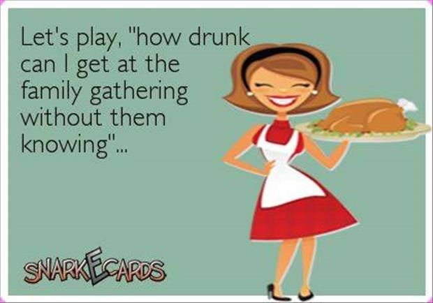 """Let's play """"how drunk can I get at the family gathering without them knowing"""""""