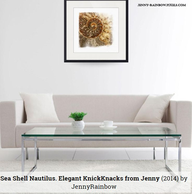 Stylish square format Sea Shell Nautilus. Elegant Knickknacks From Jenny Rainbow presented in several interiors to give you an idea how it looks on the walls with different decor examples. As for me I realize its a neutral minimalistic print which suitable for any space in interiors. #JennyRainbowFineArtPhotography #Shell #HomeDecor #IdeasForInterior #InteriorDesign