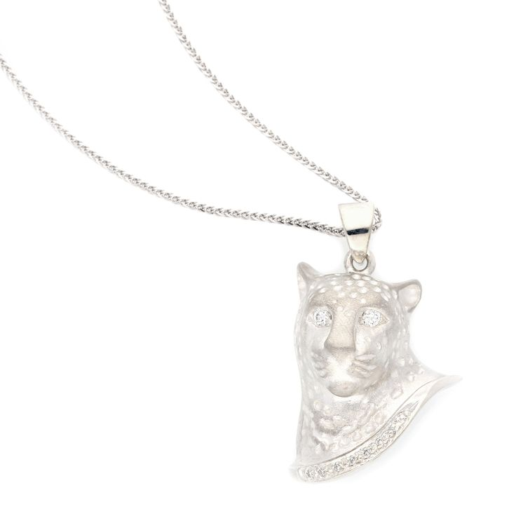 Silver Leopard Head Pendant with Small Round Diamonds equalling 0.1ct    www.uwekoetter.com