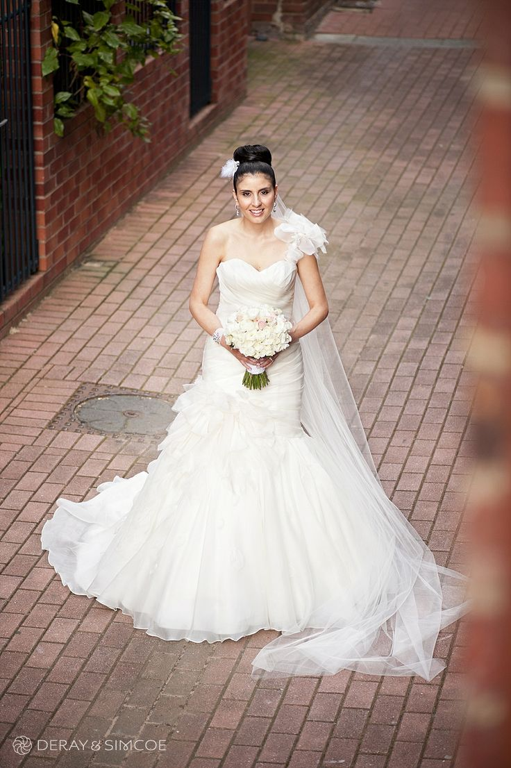 One shouldered bridal gown with fishtail   Location ~ King Street, Perth  Photography by DeRay & Simcoe
