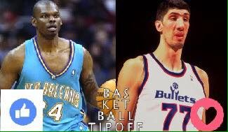 "#TipoffTournament Round 1: Jamal Mashburn vs Gheorghe Muresan  Mashburn was a consistent scorer through his 11 year career averaging 19 points but struggled with injuries in many of them eventually retiring at the young age of 31.  He was built similar to LeBron James at 6'8"" 240 but his career was cut short by injury.  Muresan was a 7'7"" 300 pound giant that managed 3 seasons from age 23 to 25 to put up about 12 points and 8 rebounds with 2 blocks a night. After age 25 he only played 31…"