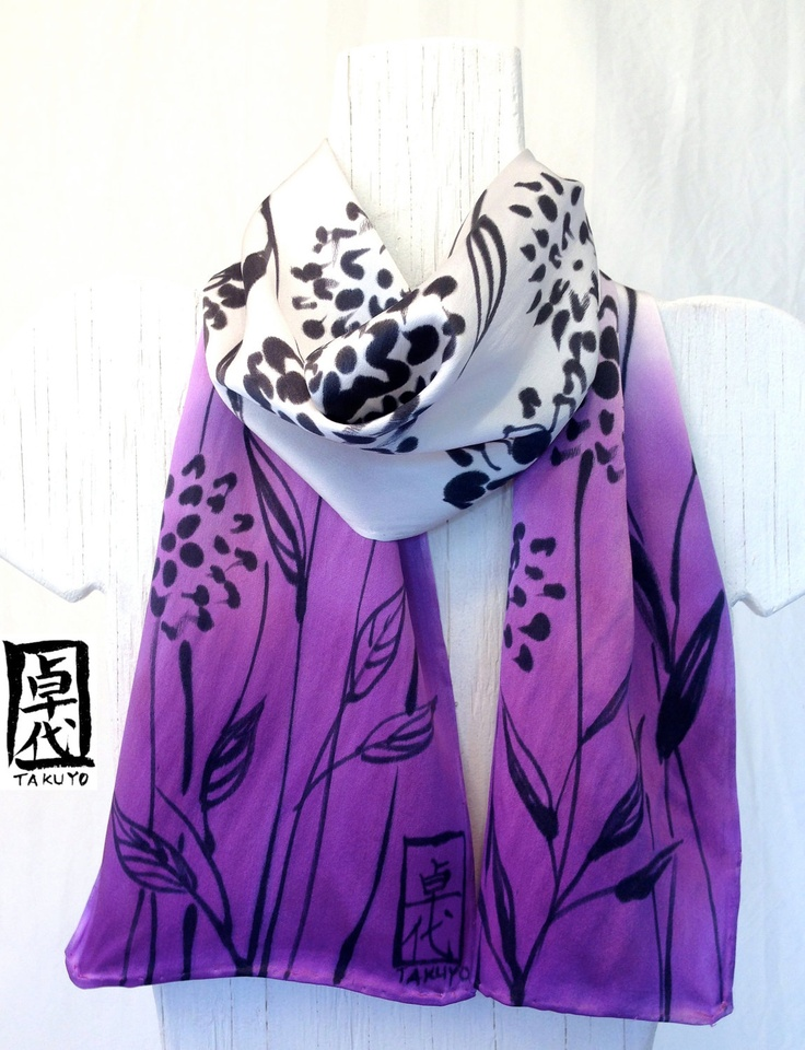 Hand Painted Silk Scarf, Purple Floral Scarf, Ombre Gray Purple Silk Scarf. Silk Charmeuse Scarf. Made in USA. Silk Scarves Takuyo. 8x52 in.. $48.00, via Etsy.
