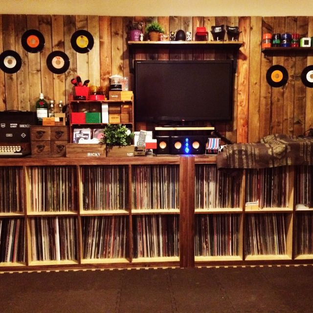 レコード収納 IKEA × セリア のインテリア実例