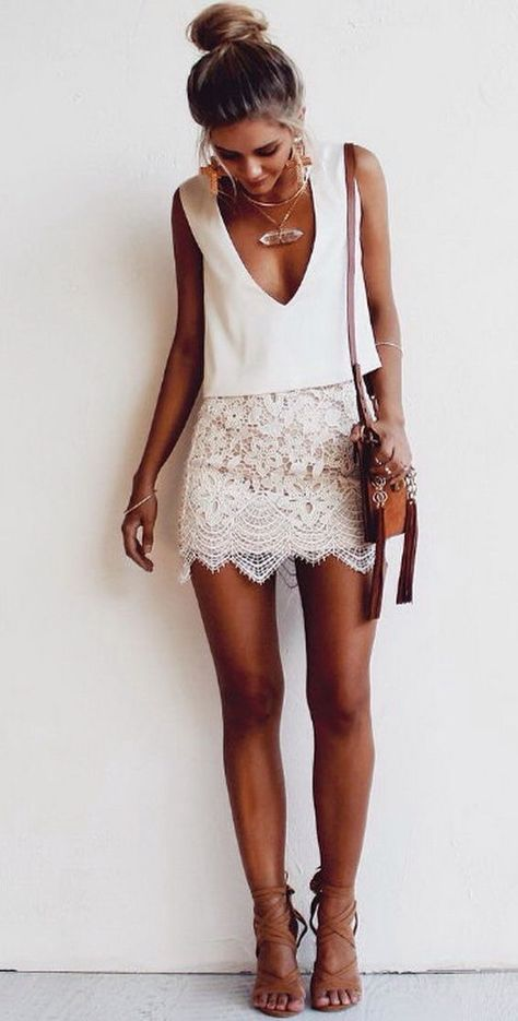 Best 25  Short white skirt ideas on Pinterest | Lace up skirt ...