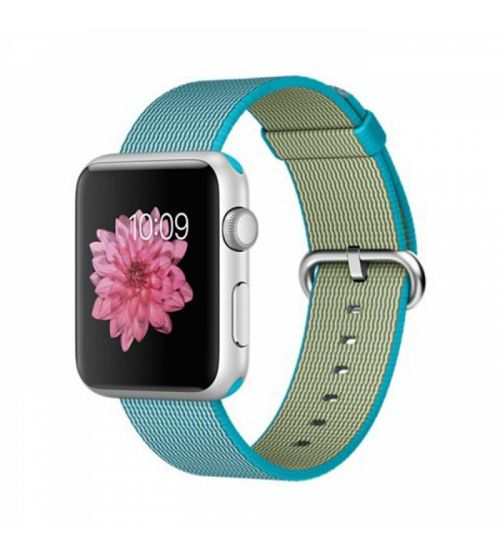 Apple Watch 42mm Silver Aluminum Case with Scuba Blue Woven Nylon (MMFN2)