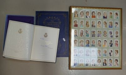 Auction of 20th Century British Pottery, collectors items, household items, antique and quality furniture – Lot 266 – A mixed collection of items to include framed cigarette card collection together with illustrated London News of the Coronation 1953 and boxed copy of Earl Spencer's tribute to the Princess of Wales, signed and dated Charles Spencer.