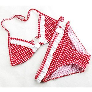 Cute Plaid Swimsuit 2016 New Summer Children Split Two-piece Swimsuit Girls Bikini Girls Beautiful Bikini Children's Swimwear