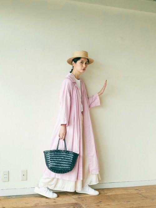 Kazumiさんの「製品染め     80/-綿サテン  パジャマワンピース(bulle de savon)」を使ったコーディネート