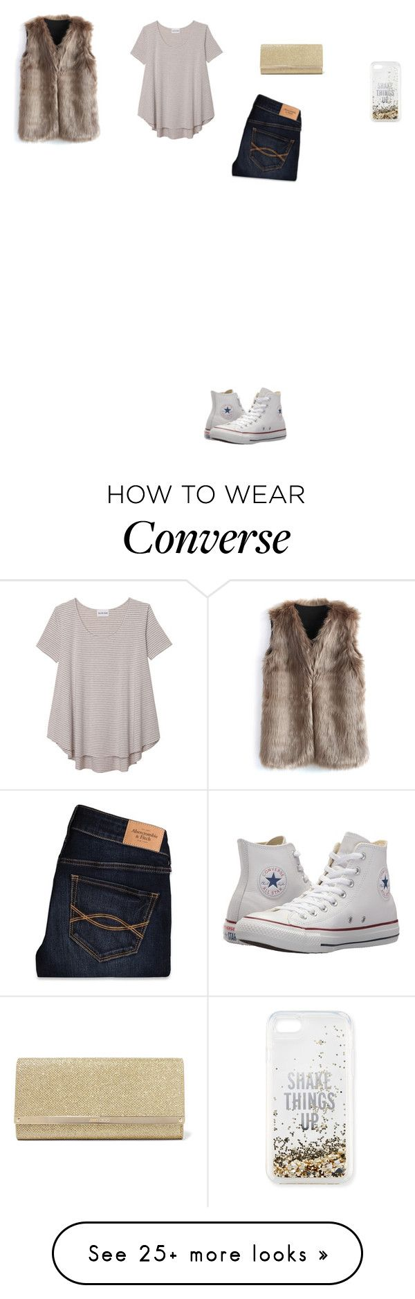 """Untitled #5347"" by anamaria-zgimbau on Polyvore featuring Kate Spade, Chicwish, Olive + Oak, Abercrombie & Fitch, Converse and Jimmy Choo"