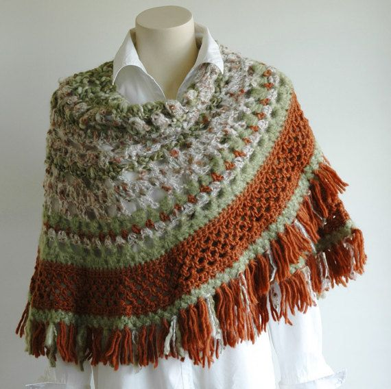 Crochet shawl in cream green and rust colours by KororaCrafters
