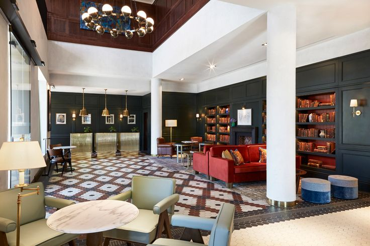 Hotel reception at the Tamburlaine Hotel. a classic modern design with traditional features. a victorian style floor tile in a hexagon format.