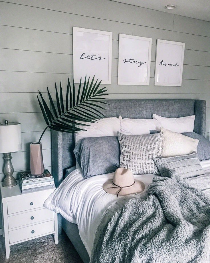 Grey white cozy bedroom decor lets stay home havent shared