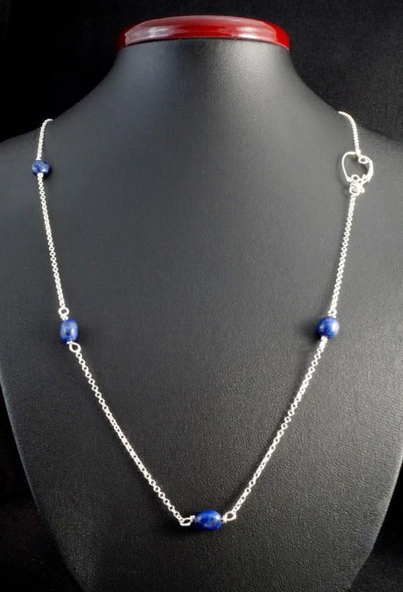 Sterling Silver 925 chain / 1,7 mm round cable chain with magenta Lapis Lazuli beads and handmade silver clasp.  Circumference of the necklace: 63 cm, 24.8 Inches (on request I change it) plus 2,5 cm clasp.   Refunds and Exchanges:  If you are not satisfied with your purchase for any reason, please contact me before leaving a feedback.  You can return purchased items without giving a reason within 14 days from the day you got it - just give me an information and send it to the address given…
