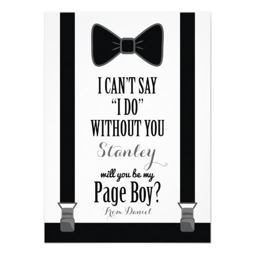 Will You Be My Page Boy - Tuxedo Tie Braces