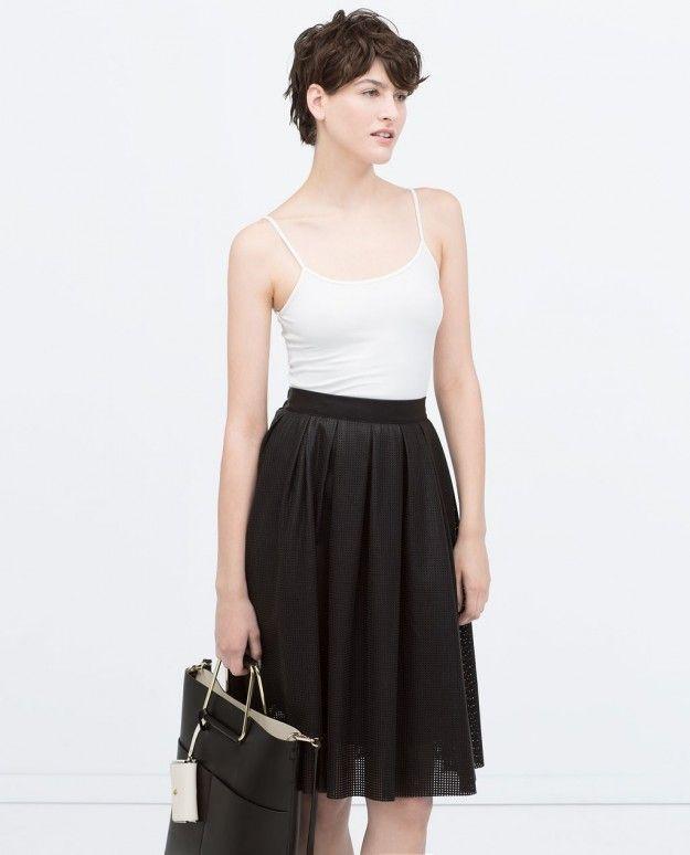midi leather skirt Zara 2015
