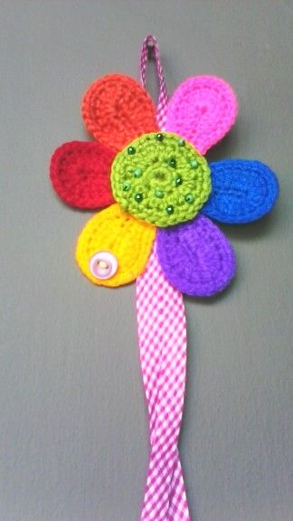 Flor multicolor #crochet <3