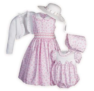 Rose Print and Stripes Matching Sister Outfits