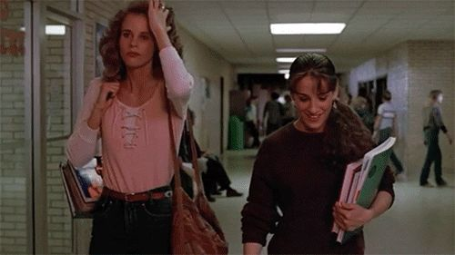 "Lori Singer (Ariel) and Sarah Jessica Parker (Rusty) in the 1984 film, ""Footloose"""