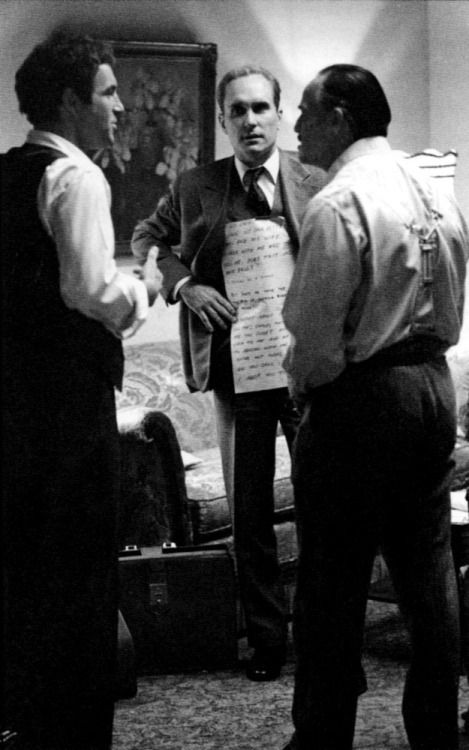 """Marlon Brando reading the cue cards on the set of The Godfather. In many of his films Marlon used cue cards. During the filming of The Godfather, Duvall after being frustrated with Brando, yelled """"Marlon, why don't you learn your lines you fat fuck!"""""""