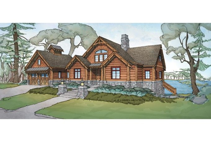 New plan this luxurious log home has an open layout and for Log cabin open planimetrie