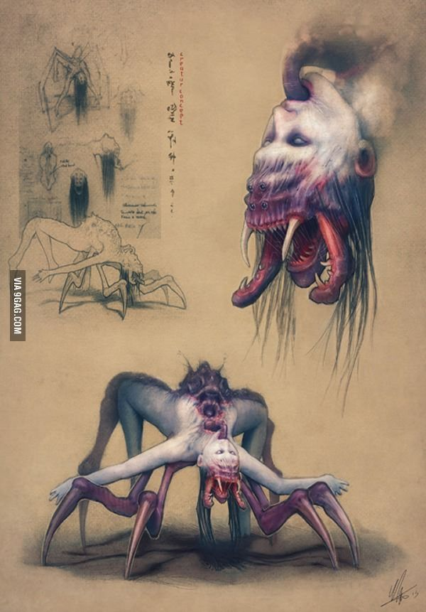 """The name of that creature is Joro-Gumo. She's a giant spider, with the ability to take the form of a beautiful lady (sometimes the top half is human, lower torso is that of a spider) who seduces men, wraps them up in her webs, poisons them, and eats them. One variation of the Joro-gumo myth says that sometimes she appears as a woman holding a baby, who asks men passing by to hold it. When they do, they discover the """"baby"""" is made up of thousands of spider-eggs, which burst open."""