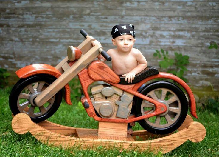 "Handmade oak motorcycle ""rocking horse"" by Reddit user slinky2's father."