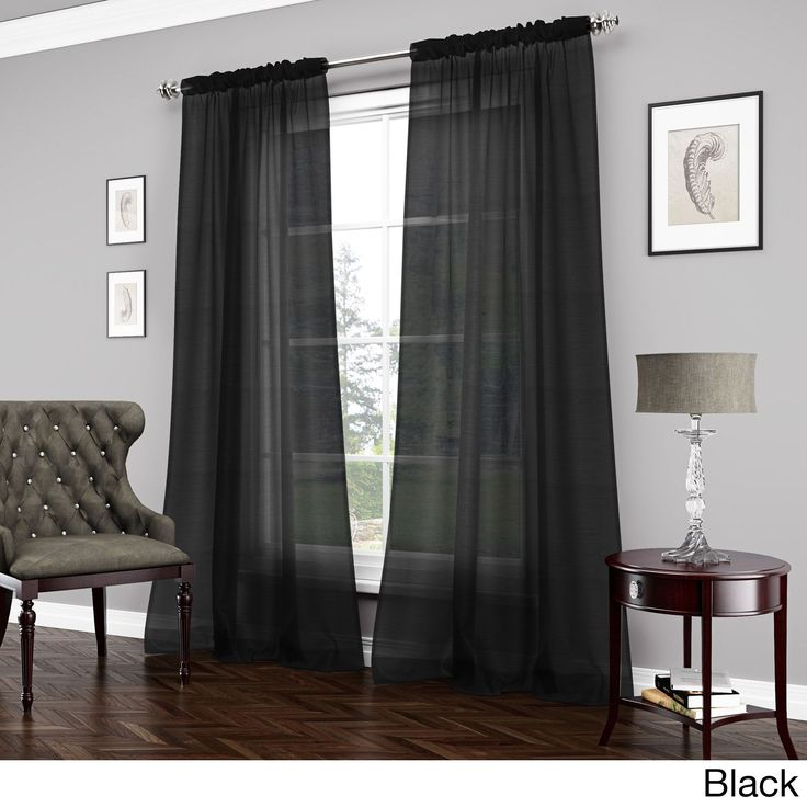 vue signature carrington sheer curtain panel black 84 all polyester solid - Window Sheers
