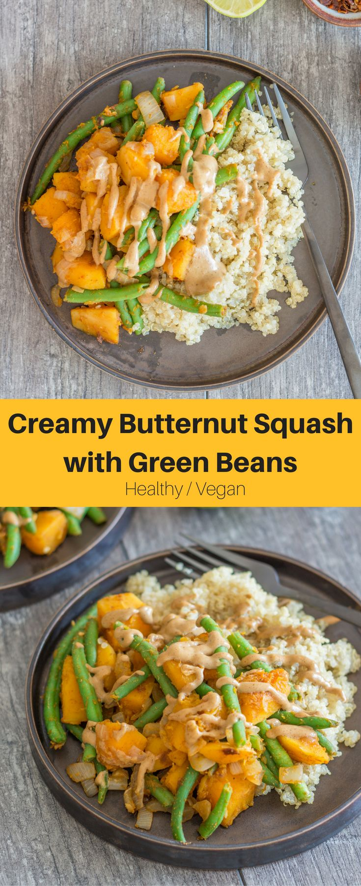 Creamy Butternut Squash with Green Beans and a delicious tahini dressing. A hearty, creamy, flavourful, and super delicious plant-based dinner or lunch.