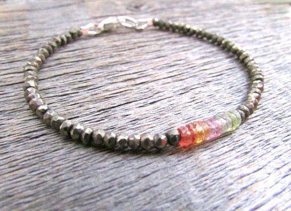 pyrite sapphire bracelet pyrite bracelet sapphire by earthwatersol