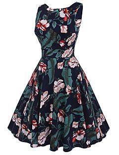 Damen Swing Kleid-Ausgehen Party/Cocktail Urlaub Retro Street Schick Blumen Rundhalsausschnitt Knielang Ärmellos Baumwolle SommerHohe
