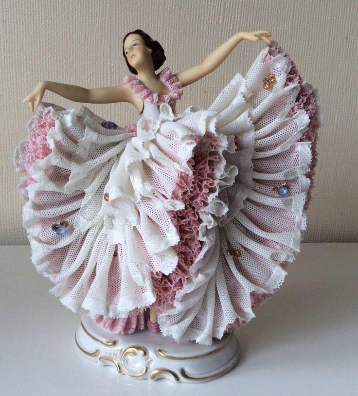 Stunning Vintage Franz Wittwer German Porcelain Lace Figurine Ballerina Dancer