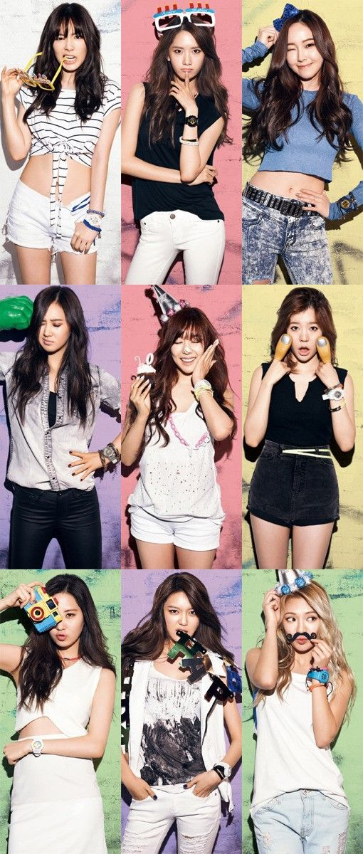 Girls' Generation recently participated in a fun and colorful pictorial for CASIO! The nine-member group teamed up with watch brand CASIO and displayed the