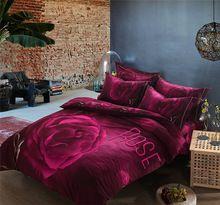 3D Purple Rose Casamento Colcha, 100% Algodão 4 pc Lixar capa de Edredão, Conjuntos de Cama do Casamento Do tamanho da Rainha do Rei conjuntos para o Inverno(China (Mainland))