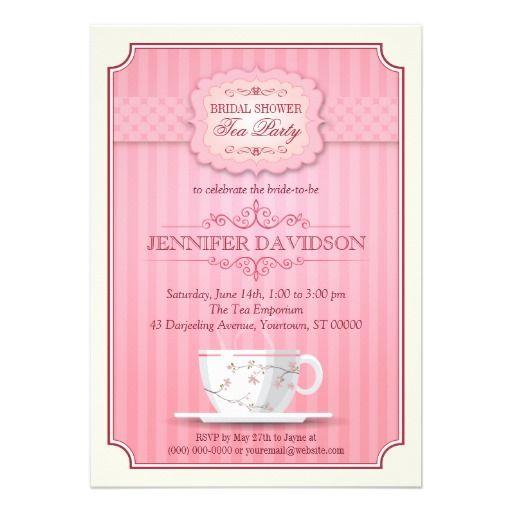 pink tea party bridal shower invitation