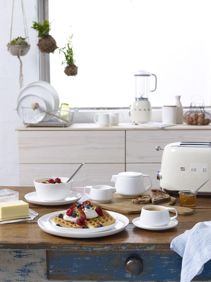 Noritake Marc Newson teams up with SMEG retro appliances for a lovely white kitchen Photography & stylish by Brandee Meier www.brandeemeier.com.au