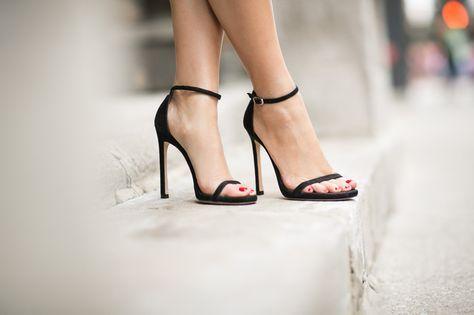 Stuart Weitzman Nudist Single Band Sandals  --> Very sexy sandals!!!  BIG LOVE!!  Loving Chicago :: Layered silk & Chanel red jumbo