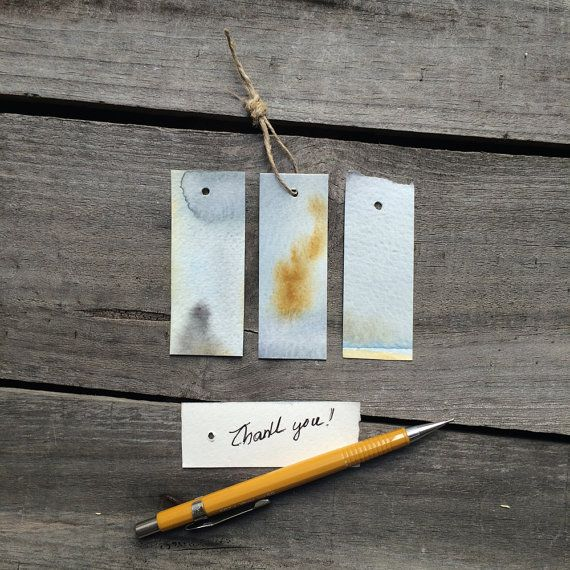 rustic wedding favour tag art tags set of three tags blue grey & ochre yellow watercolor blank gift tags on Etsy, $4.00