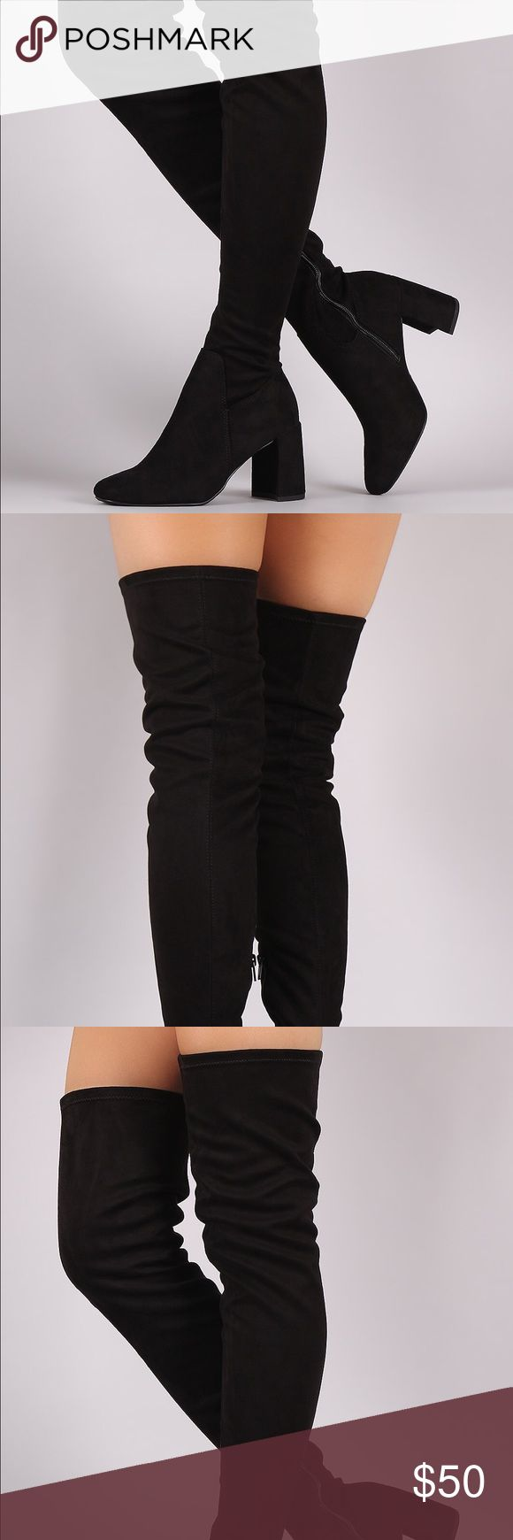 """Thigh high black sock heeled boots 7 NEW IN BOX These stylish boots are over the knee style, featuring a stretchy fitted design. Almond toe. Partial inner side zipper. Finished on acrescent shaped block heel.  Material: Vegan Suede (man-made) Sole: Rubber Measurement Heel Height: 3.25"""" (approx) Shaft Length: 28"""" (including heel) Top Opening Circumference: 16"""" (approx) speed limit 98 Shoes Heeled Boots"""