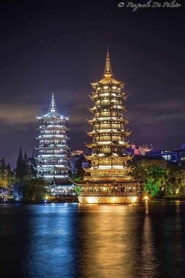 Sun and Moon Pagodas of Guilin, China.