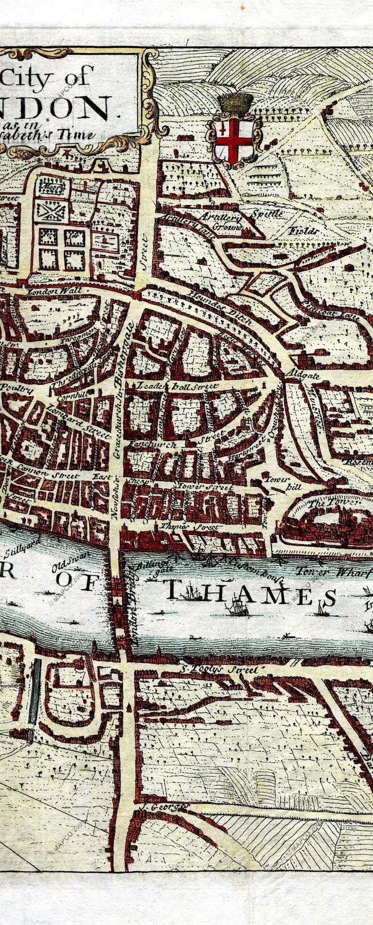 Mapa London%0A Part of London in Elizabeth I u    s time