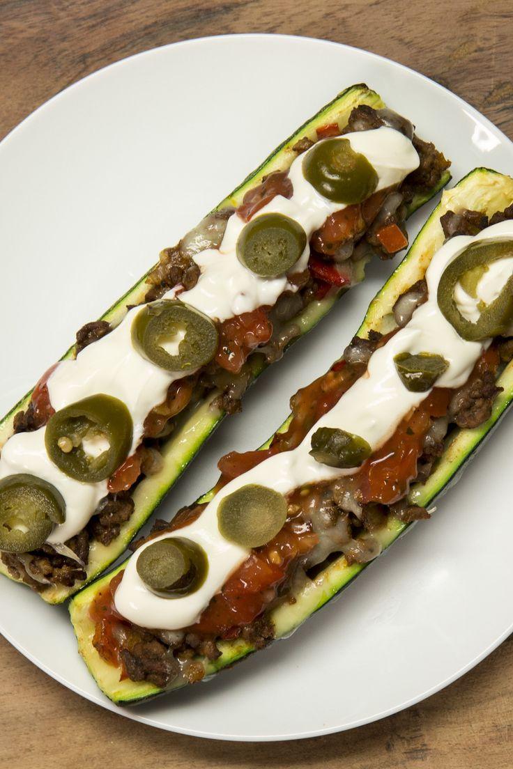 Barco-tacos de calabacita con carne