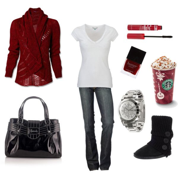 I <3 sweaters!: Untitl 45, Cute Outfit For Winter, Winter Time, Cute Outfits, Red Cardigans, Winter Outfit, Cozy Outfit, Fall Outfit, Polyvore