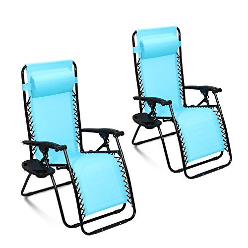 Ollieroo 2 Pack Blue Zero Gravity Lounge Chair With Pillow And Utility Tray  Adjustable Folding