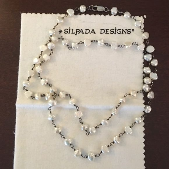 White pearlized Silpada Necklace So pretty as a necklace. Also try it as a bracelet. Silpada Jewelry Necklaces
