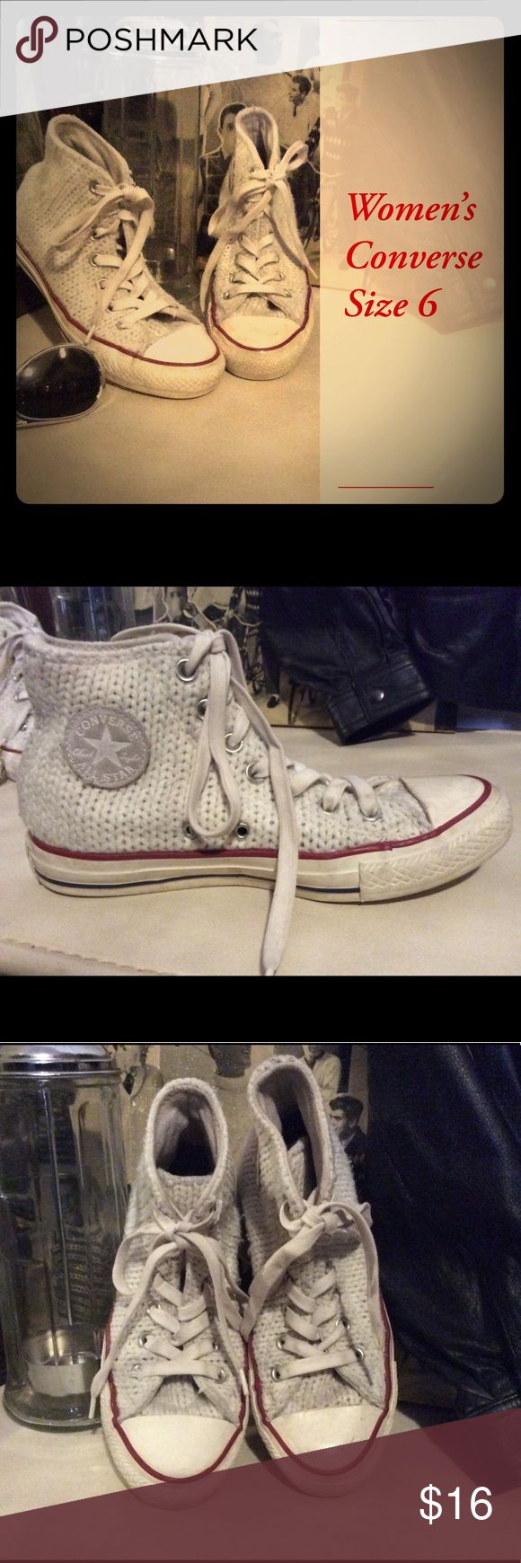 Women's Off White Sweater Converse Size 6 Women's size 6 Sweater Converse shoe Cute off-white shoes. Converse sizing is a bit different. I usually wear a 6.5 in other shoes but these fit me well. Just not really my style.  I hand washed them to make sure the tops were clean. Light pilling in spots.  Non-smoking environment. Cat-friendly (not really, but he lives here & sneaks in the posh room when we're not looking) environment.  I try to ship within 24hrs of sale. Converse Shoes Sneakers
