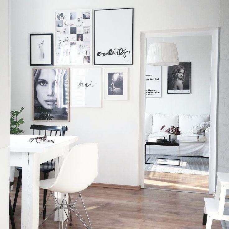 Home. #greattobehome #whiteinterior #posters #ylvaskarp #nordicdaycz #mamaisonblanche #viamartine #fotografiska #theposterclub #diningarea #vitra #thonet #livingroom #interior123 #interior4all #interioristapicture #morninglight #sunnymorning