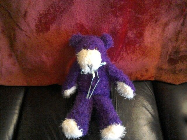 Purple bear knitted in sirdar touch