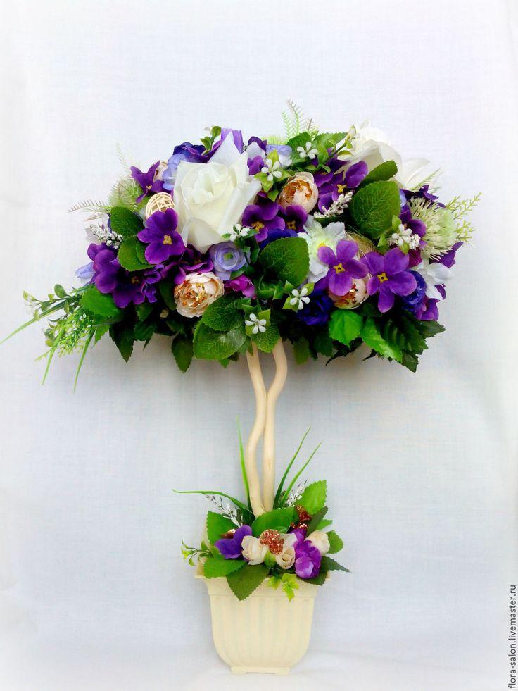 Купить Фиолетовая нежность - топиарий дерево счастья, топиарий ручной работы, топиарий из цветов